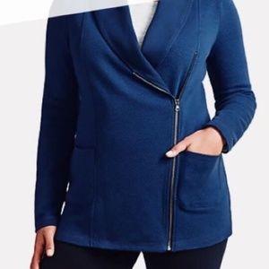 Talbots 2XP Cardigan Side Zip Textured Blue